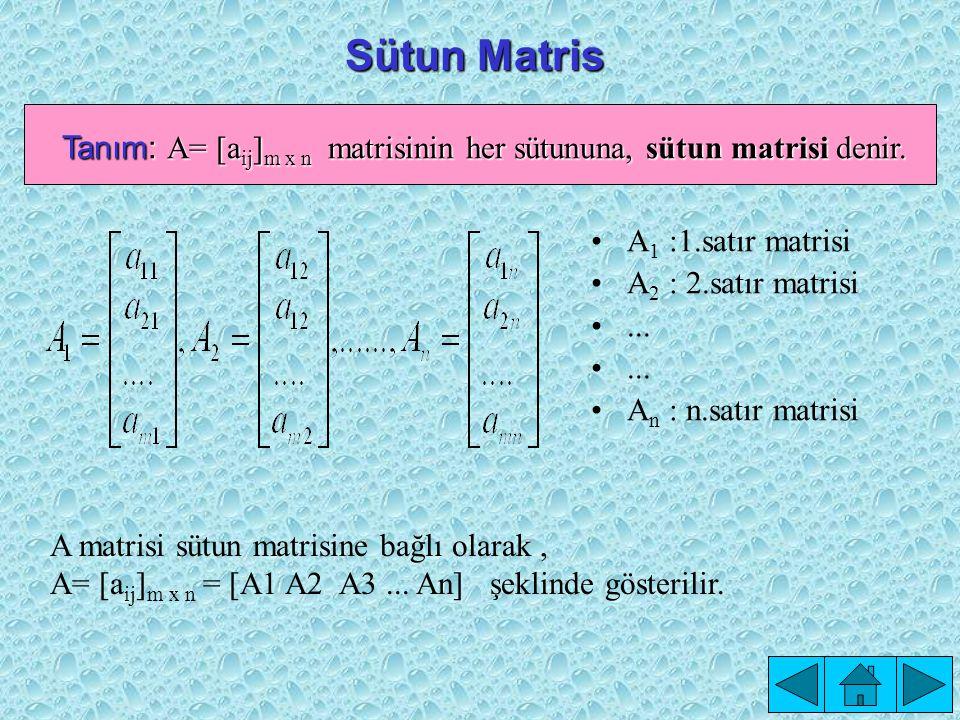 Tanım: A= [aij]m x n matrisinin her sütununa, sütun matrisi denir.